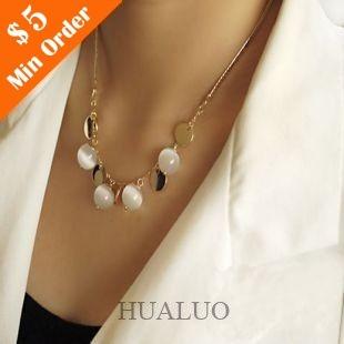 Fashion Bohemia Opal Pendant Necklace,Short Female Sweater Chain#N459