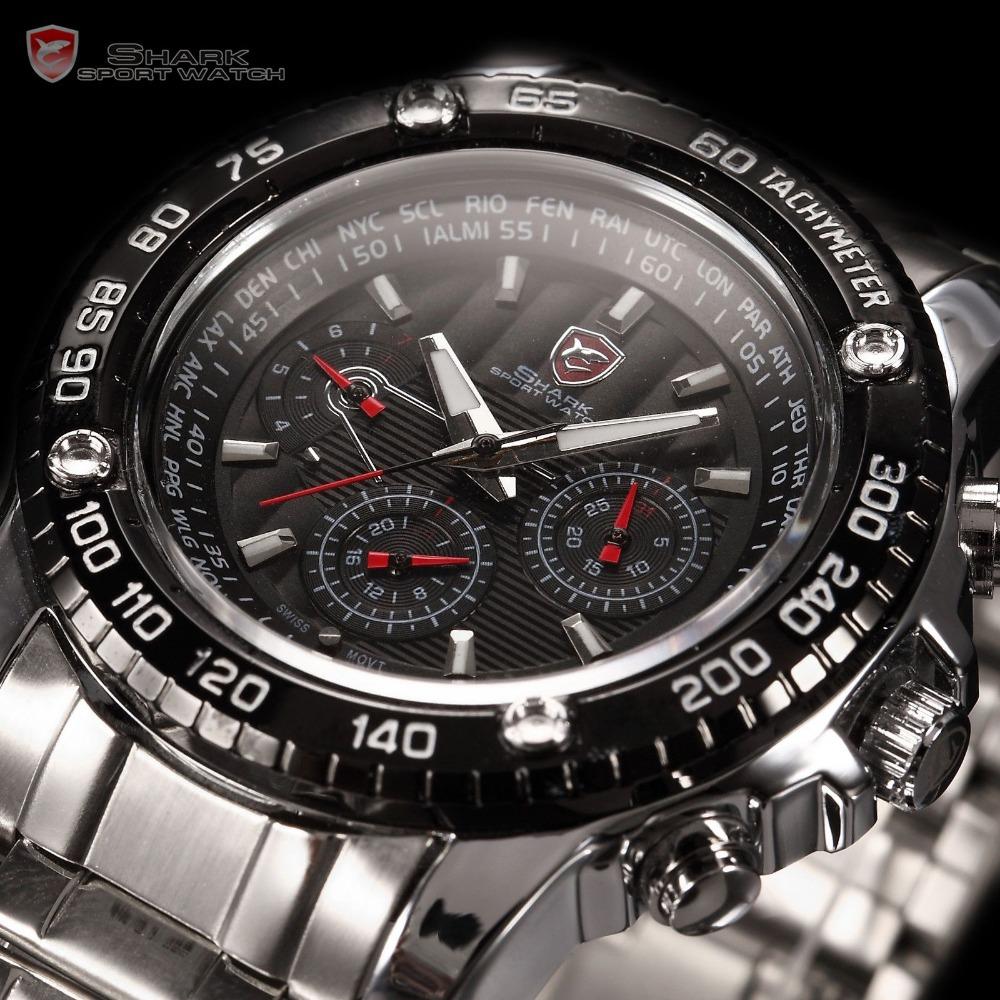 SHARK 6 Hands Day Date Display Calendar Stainless Full Steel Black Silver Luminous Wrap Wrist Men's Sports Quartz Watch / SH015
