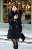 2014 Winter Plus Size Women's woollen coat Long Trench casacos femininos For Women Desigual Ladies' Outerwear Coats With Belt