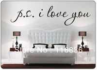 "Promotion!!! PS.I LOVE YOU Famous Wall Decal Quote Black Letter art decor sticker 22""x 9""  sayings Vinyl home decal"