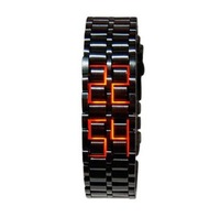 Fashion gift for Men LED Watch Stainless Steel Metal Black Silver Red/Blue Light Casual Wristwatches Hours Free Shipping