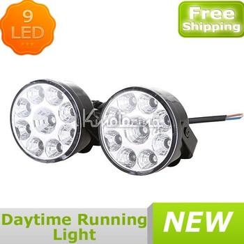 2pcs/set 9LED Car Daytime Running LED DRL Fog Lamp Day Driving Warning Daylight 12V,Wholesale fog lights led FREE SHIPPING