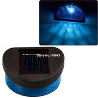 New 3Pcs/Lot Solar Powered Led Solar Fence Light, Solar Panel Garden Wall Light Lamp Blue Light Free Shipping 6875