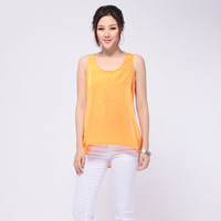 2013 Fashion  woman sleeveless Chiffon tops Round neck sleeveless Irregular blouse yellow the European size free shipping