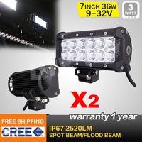 2PCS 7INCH 36W CREE LED WORK LIGHT BAR FLOOD OFFROAD LIGHT FOR TRACTOR BOAT ATV MILITARY LED WORK LIGHT BAR