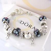 PB1 /Charm Chamilia bracelet 925 sterling silver crystal charm bracelet for woman.silver chamilia beads bracelets.free shipping