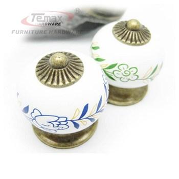 Ceramic round bronze kitchen cabinet cupboard door dresser drawer knobs and handles pulls gate door furniture
