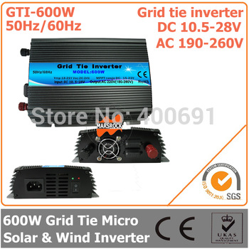 600W Grid Tie Inverter, 10.5-28V DC to AC 190-260V Pure Sine Wave Inverter Suitable for 600-720W 18V PV module or Wind Turbine