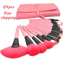 Free Shipping Professional 24pcs Makeup Brush Set Kit Makeup Brushes & tools Make up Brushes Set Brand Make Up Brush Set Case(China (Mainland))