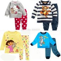 Children Cartoon Clothing Sets Boys Pajamas Girls Sleepwear Set Kids Cartoon Clothing Set 2-piece suit  Freeshpping