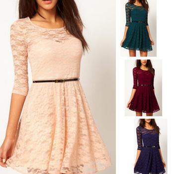 Sexy Spoon Neck 3/4 Sleeve Lace Sakter Dress Belt Include 3817