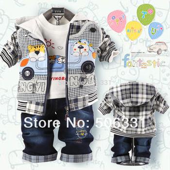 Baby boys clothing sets Babt cartoon bear set cotton Kid denim suit sets jacket+t-shirt+pant free shipping