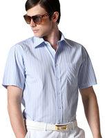 Freeshipping NEW blue white stripe spring autumn man men's casual short sleeve slim fit cotton shirt shirts clothes FZ-MDX601