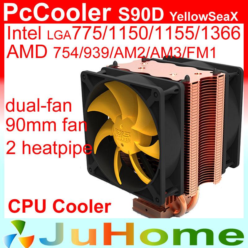 dual-fan 90mm fan, 2 heatpipe, Intel LGA775/1150/1155/1156/1366, AMD 754/939/AM2+/AM3/FM2 CPU cooling, CPU cooler, PcCooler S90D(China (Mainland))