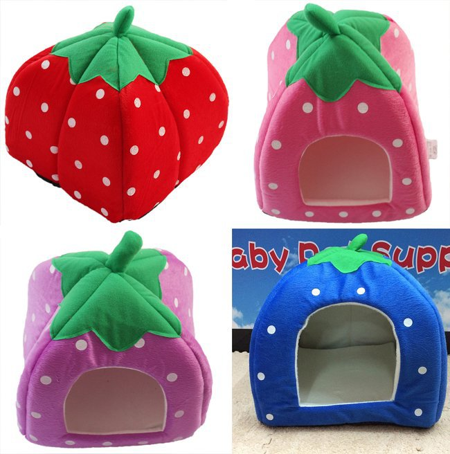 NEW Wholesale 1PCS Soft Sponge Strawberry Pet Dog Cat Bed Houses Lovery Warm Doggy Kennel 3 SIze 4 Colors Available 650548(China (Mainland))