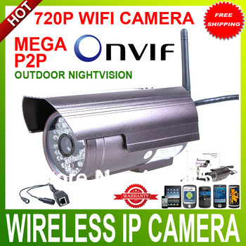 HD MegaPixel Wireless 720P onvif outdoor IP Camera wireless Waterproof Infrared night version mobile phone acce