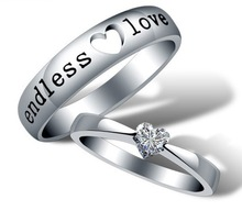 2014 Heart Zircon Endless Love Engagement Ring Wedding Couple Rings Aneis de Diamante Mens Rings 925