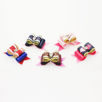 Armi store Handmade Dog Accessory  Simple Retro Ribbon Bow  Hair Bows Puppy Supplies 10 pcs / lot