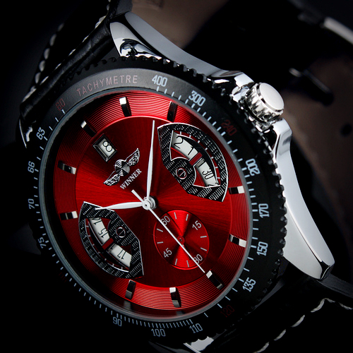 SG Post or HK Post New Automatic Wrist Leather Date Mechanical Auto Steel Case Men's Watch Wrist Watch for 2013(China (Mainland))