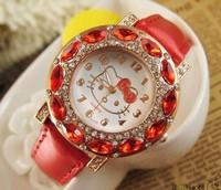1PCS wholesale 2014 new fashion children's Hello Kitty brand quartz watch, women's diamond watches gift Relogio Hotel