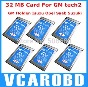 Free shipping Newest 32mb card six software gm tech2 card for gm tech2 gm\opel\suzuki\saab\holden\isuzu