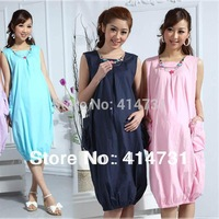 Summer New 2014 Fashion Maternity Clothes/Dresses for Pregnant Women Motherhood/Pregnancy Clothing 100% Cotton Dress Long Blue