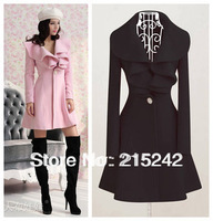 FREE SHIPPING Autumn & Winter Fashion Pink / Black Women Long V- Neck Ruffle Wool Coat size M, L, XL, XXL 651229