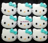 Lake Blue Bow Hello Kitty Cabochons 22*27mm DIY Materials