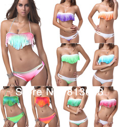 2013 Newest Summer Sexy Women Bikini Boho Padded Girl's Swimwear Colorful Fringe Tassels Real Class Swimsuit 7 Colors#P040(China (Mainland))