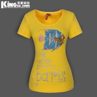 New arrival Free shipping ! 2013 New fashion hot fix rhinestone Sequined fish women's short sleeve T shirts Size M-3XL K0066