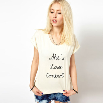 Wholesale!  Fashion Tops Simple women's Letter Printed short sleeve  T-shirt  Free  shipping  D036
