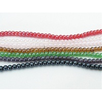 Glass Beads Strands,  Round,  Mixed Color,  about 4mm in diameter,  hole: 1mm,  81pcs/strand,  13""