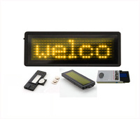 Yellow color 7*29 Pixels Scrolling LED name badge sign/advertising business card show display tag / order=10pcs free 1 set soft