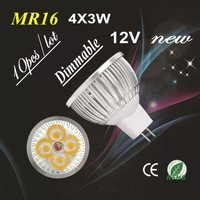 10X High Power Dimmable MR16  GU5.3  4X3W 12W Spotlight Lamp 4 CREE LED 12V Light Bulb Downlight FreeShipping !!!