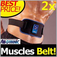 2 X  NEW AB Gymnic Electronic Muscle Arm leg Waist Massage Belt With Massage Gel  Free shipping Drop shipping