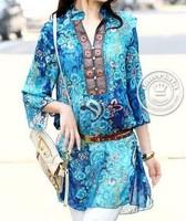 Red/Blue/Gray/Pink M,L,XXL,3XL,4XL,5XL 2014 New Fashion Summer V-neck women chiffon print plus size prom sexy evening dress