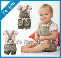 2014 New arrival Baby girl suit Baby wear Children clothing sets Kids summer shivering T-shirt + overalls + belt Free shipping