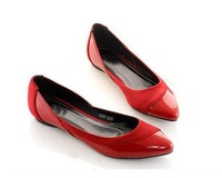 new single star shoes woman bright patent leather shoes ship small pointed shoes big yards flats shoes