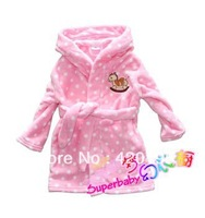 free shipping cartoon hooded bathrobe/bath towel soft coral fleece flannel  bathing robes for children/kids /sleepwear pajamas
