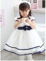 New baby girl pure white bow princess dress stereoscopic flower belt with the dress Rhinestone yarn dress GQ-121-2