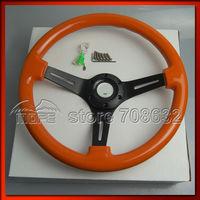 SPECIAL OFFER 3 Black Spokes 350mm 14 Inch Deep Dish Wood Grain Classic Orange Steering Wheel For Sport Racing Car