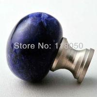 Natural Stone Furniture Hardware,30mm Blue Crystal Cabinet Knob Cupboard Door Knobs,3pcs Drawer Handles w/ Screws,Free Shipping