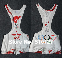 White1 Olympic Torch Wrestling Singlet Gear Weight lifting Gym Building sports Outfit Sey