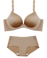 Free shipping solid SKIN one-piece design seamless underwear 3/4cup Bra and Brief set B C D CUP [Deareasy factory store]