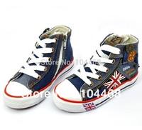 size25-35 Free shipping Boy&girl Canvas Shoes  kids sneakers High Tie Zipper Children's Shoes  2014  Four Seasons 2014 Fashion