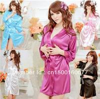 New New Sexy Lingerie Satin Nighty Gown Robe Long Sleeves Mini Dress Sleepwear