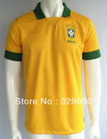 New 2013 2014 Top Thailand Quality Brazil Home Yellow Soccer Jersey,Brasil soccer Football uniforms free shipping Size: S - XL