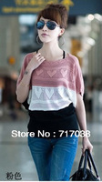 2013 women's shirt color block decoration pullover jumper sweater sweet batwing sleeve cutout air conditioning shirt sweater