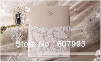 Laser Cut Flower Lace Pocket wedding invitation card , Birthday Invitation Business invitation card ,100PCS/lot, Free shipping