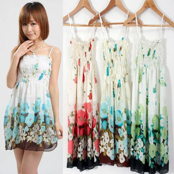 Ladies summer sexy rayon pleated strapless print braces mini casual chiffon dress(China (Mainland))